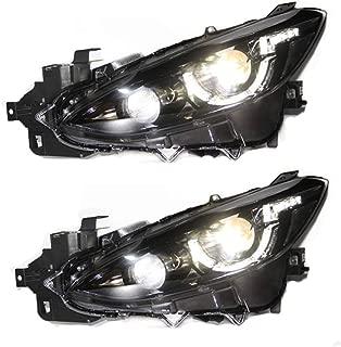 2PCS Headlight Assemblies For Mazda Mazda 3 Axela 2014-2016 Bi-Xenon Lens Projector Double Beam Xenon HID KIT With LED Daytime Running Lights
