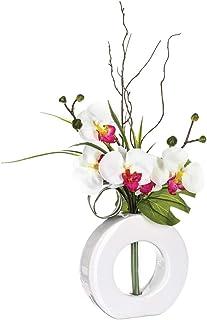 Atmosphera - Composition Florale Artificielle d'orchidées avec Vase céramique H44