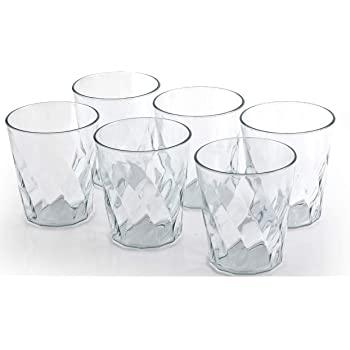 Pokal Unbreakable Plastic Glass Set of 6, Water Glass, Juice Glass, Tumbler Set 300ml Diamond)