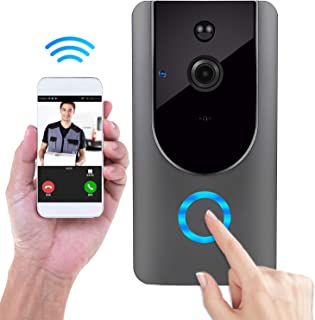Wireless Doorbell Smart Door Bells Home Security Bell Camera with Battery, Real-Time Video and Two-Way Night Vision PIR Motion Detection