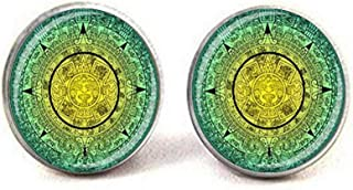 Aztec Mayan Soleil calendrier Pendentif Amulette Collier Pendentif