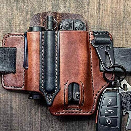 Organizador de bolsillo EDC con funda de cuero multiherramienta con porta llaves para cinturón y funda de herramienta múltiple con funda para linterna (Brown)