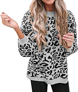 Sceoyche Women O-Neck Leopard Print Pullover long Sleeve Loose Knitted Sweater Tops