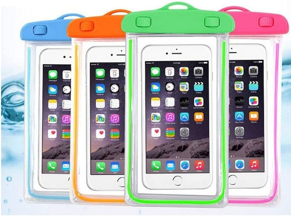 iPhone Waterproof Case,Waterproof Bag,4 Pack Noctilucent Cellphone Underwater Dry Pouch Waterproof Cases Cover for iPhone 12/11 Pro Max/Pro/8 Plus, Galaxy S21/S20/S10/Note 20/10/9, Pixel 4 XL up to 7