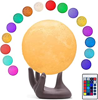 BRIGHTWORLD Moon Lamp, 16 Colors LED 3D Print Moon Light with Brown Hand Stand & Remote&Touch Control and USB Rechargeable, Night Lights for Baby Kids Lover Birthday Party Gifts 3.5 Inch