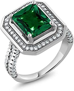 Sterling Silver Emerald Cut Green Simulated Emerald Women's Ring 4.32 cttw (Available 5,6,7,8,9)