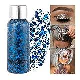GL-Turelifes Lentejuelas de sirena con purpurina líquida, sombra de ojos, gel para el cuerpo, festival, purpurina, cosméticos, para el pelo, maquillaje de larga duración, brillo de 30 g (05# azul)