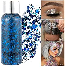 GL-Turelifes Mermaid Sequins Chunky Glitter Liquid Eyeshadow Glitter Body Gel Festival Glitter Cosmetic Face Hair Nails Makeup Long Lasting Sparkling 30g (05# Blue)