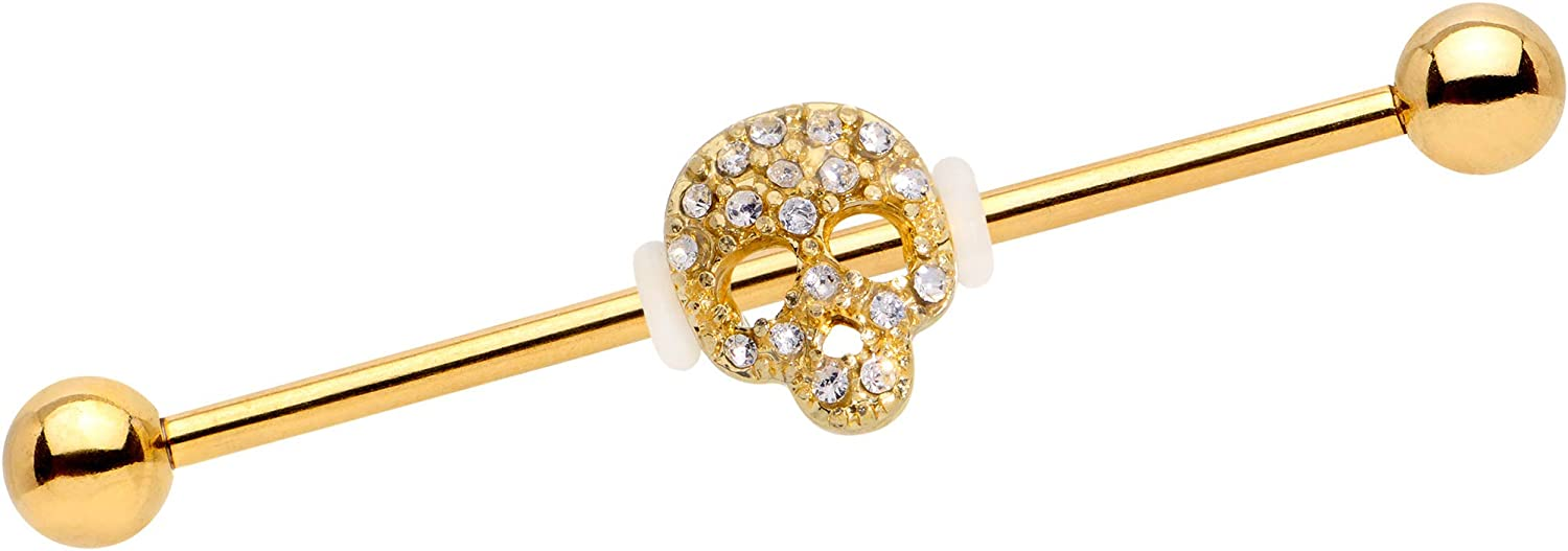 Body Candy 38mm Womens Gold Anodized Steel Helix Cartilage Clear Accent Skull Industrial Barbell 1 1/2