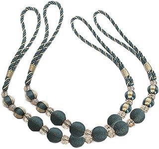 "EleCharm Trendy Rayon Bead Curtain Rope Crystal Bead Drape Curtain Tieback Long 35"" (Blue)"