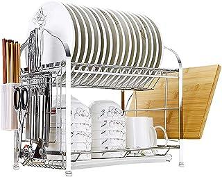 Ameublement de la maison égouttoir à vaisselle étagère de rangement 2 couches étagère de rangement en acier inoxydable pan...