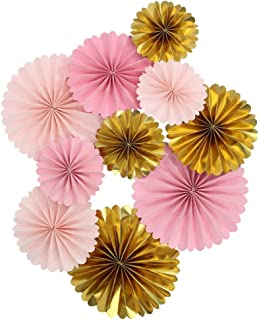 Mybbshower Pink Gold Paper Rosettes for Girl Baby Shower Princess Birthday Party Wall Home Nursery Room Decorations Pack of 10