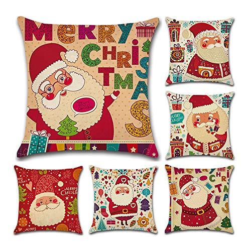 Fundas Cojin Serie De Navidad 6 Pieza 45x45 cm (18x18 Pulgadas) (Color6)