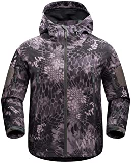 MYCHOME Men's Jackets Hooded Fleece Waterproof Mountaineering Warmer (Color : Multi-Colored, Size : XL)