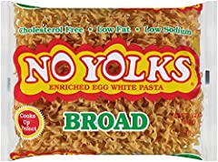 No Yolks Broad Noodles are made from egg whites Cooks up light and fluffy making them a great partner to any dish, entree, salad, or soup Noodles cook in just 2 minutes Low in fat and sodium, with no cholesterol Packaged in an 12 ounce bag