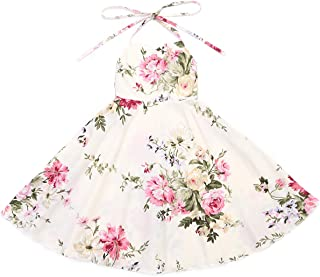 Flofallzique Girl Dress Summer Vintage Floral Halter Backless Boho Beach Dress for Kids(Cream,8