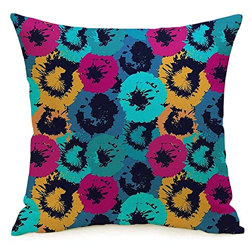 N\A Decorative Linen Square Throw Pillow Cover Case Distressed Rainbow Kaleidoscope Batik Simple Abstract Flowers Hawaiian Summer Design Circle Mosaic Pillowcase Cushion Sham for Couch