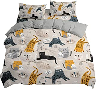 DMHunt Cats Duvet Cover Set,Microfiber Bedding Sets with Zipper Closure, with Pillow Sham,Cute Cat Print Pattern,No Comforter-Twin
