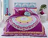 Sleepdown Juego de Funda de edredón Reversible Suave con diseño Abstracto Rosa de Cachemira con Fundas de Almohada, King (220x230cm)