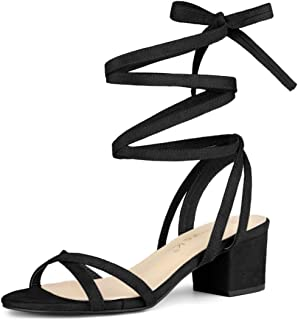 Allegra K Women's Open Toe Block Heels Lace Up Sandals