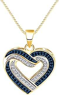 1/3 Ct Blue & White Natural Diamond Heart Pendant Necklace in 14K Gold Over Sterling Silver