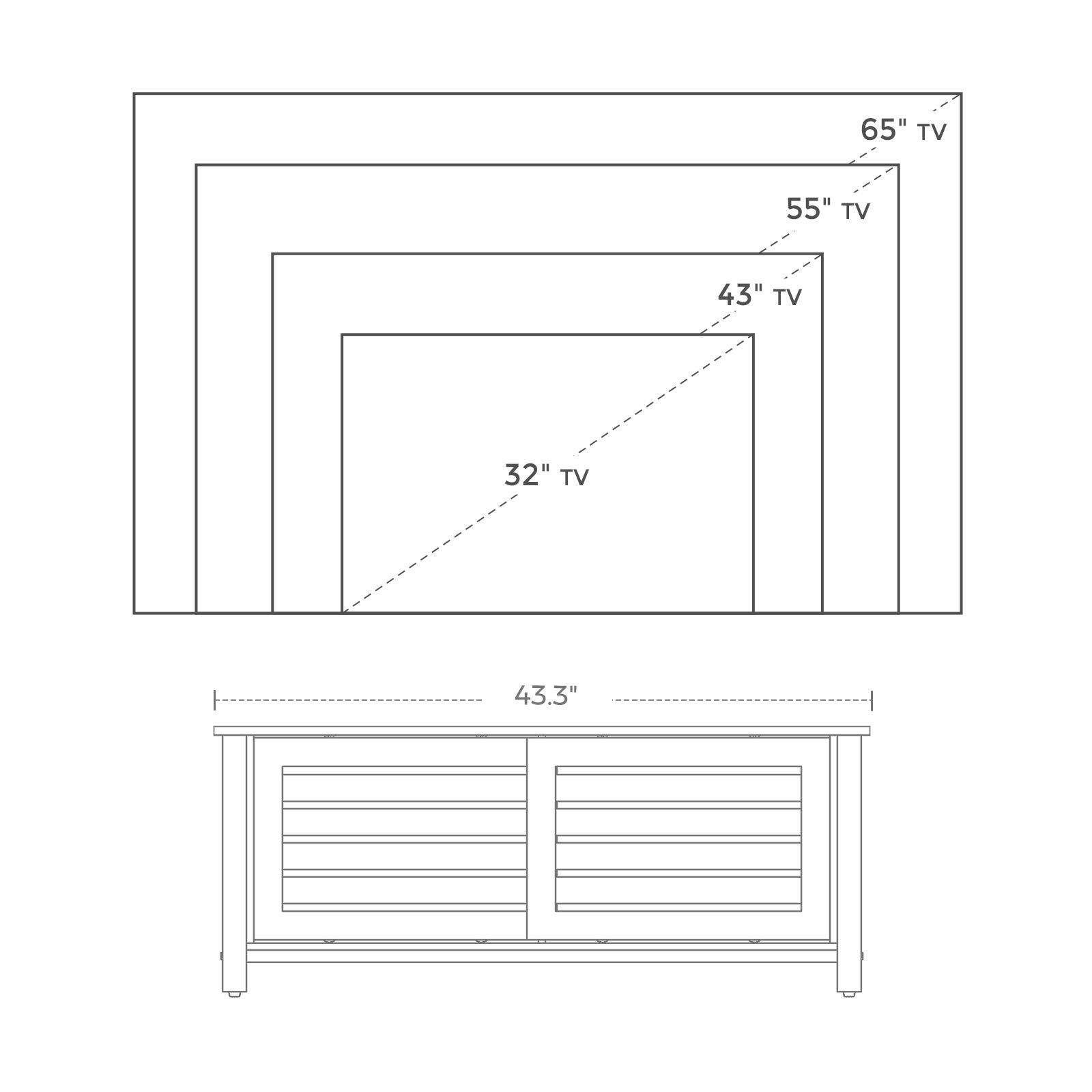 VASAGLE LOWELL Soporte de TV para televisores de hasta 48 pulgadas, mueble de TV con puertas correderas y 2 estantes, Industrial en sala de estar, dormitorio, pasillo, hierro, 43.3 x 15.7 x