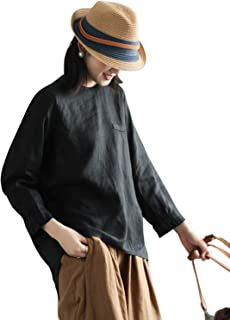 IXIMO Women's Long Sleeve Linen Blouses Loose Fit Patchwork Buttons Up Shirts with Chest Pocket