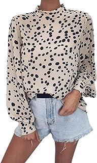 f9c119ea2d649 DMZing Blusa Casual con Estampado de Leopardo y Cuello de Tortuga Suelto para  Mujer