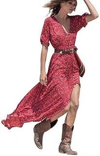 f64bafdf114c Abbigliamento da Donna Estiva Bohemien Abito da Festa Floreale in Chiffon  Abito Lungo da Spiaggia Abiti
