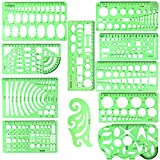11PCS Geometric Drawings Templates, Drafting Stencils Measuring Tools, BetyBedy Plastic Clear Green Ruler Shapes with a Zipper Bags for Architecture, Office, Studying, Designing and Building