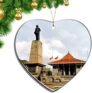 Hqiyaols Ornament Sri Lanka Independence Square Colombo Christmas Ornaments Ceramic Sheet Souvenir City Travel Pendant Gift Tree Door Window Ceiling Decoration Collection