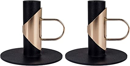 TAOZG 2PCS Black Candle Holder Base Retro Anti-Rust Candlestick Bracket for Home Table Decoration