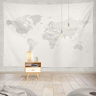 World Map Tapestry,White Tapestry Shades Grey High Country Simple Grey Globe Modern Africa America Asia Australia Decorative Tapestry,50X60 Inches Wall Hanging Tapestry for Bedroom Living Room