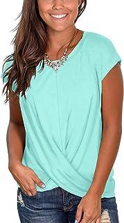 Womens Tassel Short Sleeve Round Neck T-Shirt Top Casual Blouse