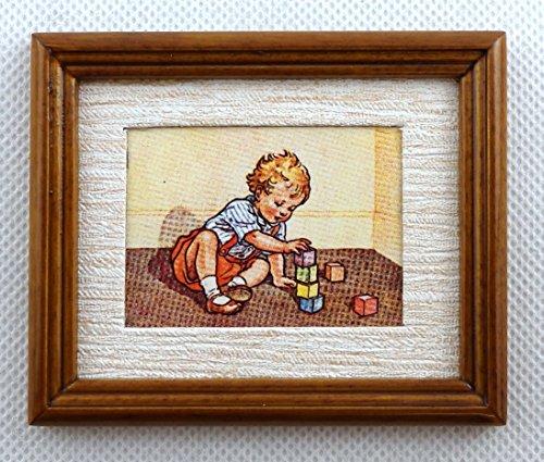 Melody Jane Casa Muñecas Aprendizaje a Construir Cuadro Pintura Nogal Marco Accesorio Miniatura