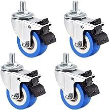 Casters Zwenkwielen, 4 stuks, PU-wielen, matrijs, 5 cm diameter, blauw, M12 x 20 mm, draadstang met rem, capaciteit 132 lb