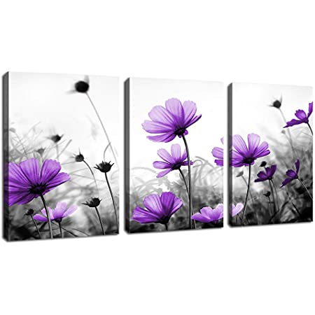 Amazon Com Flowers Wall Art Canvas Pictures Purple Wildflowers Black And White Background 3 Piece Blossom Contemporary Artwork For Home Decoration Office Kitchen Decor 12 X 16 Panels Posters