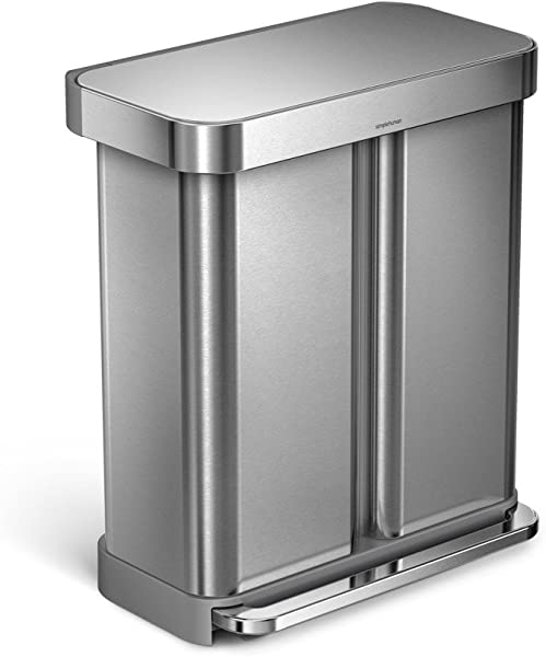 Simplehuman 58 Liter 15 3 Gallon Stainless Steel Rectangular Kitchen Step Can Dual Compartment Recycler Brushed Stainless Steel