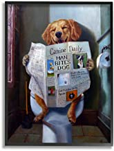 The Stupell Home Décor Collection Dog Reading The Newspaper On Toilet Funny Painting Oversized Framed Giclee Texturized Ar...