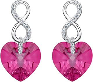 925 Sterling Silver CZ Figure 8 Infinity Love Heart Dangle Earrings Adorned with Swarovski crystals