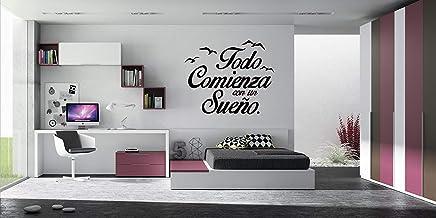 Vinilo Decorativo Pared Frases Todo Comienza con Un Sueño | Varias Medidas 100x63cm | Pegatina Adhesiva Decorativa de Diseño Elegante