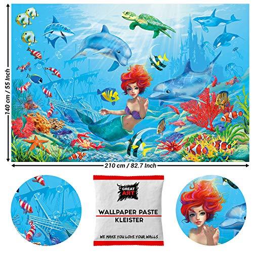 GREAT ART Fototapete Kleine Meerjungfrau 210 x 140 cm Wanddekoration – Unterwasserwelt Nixe Fische Meerestiere Wandbild 210 x 140 cm – 5 Teile Tapete inklusive Kleister