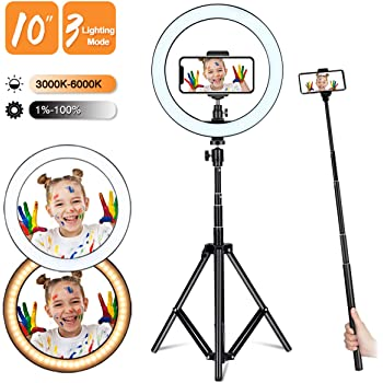 Selfie Ring Light with Adjustable Tripod Stand and Phone Holder, Winjoy 10'' Dimmable LED Lighting Filming Equipment for Photography, Makeup, Live Steaming, Photo, Vlog, YouTube Video
