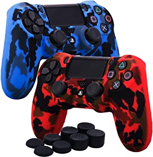 Kono Water Transfer Printing Camouflage Silicone Cover Skin Case for Sony PS4/slim/Pro Dualshock 4 controller x 2(red+blue...