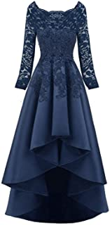 Scarisee Women's Long Sleeves Beaded High Low Evening Prom Party Dress
