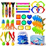 Joyjoz 30Pcs Diving Pool Toys Underwater Summer Swimming Pool Toys for Kids Teens and Adults Included Diving Sticks & Rings; Pirate Treasures; Octopus; Fish Toys and Torpedos Gift Set Bundle