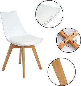 EGGREE Pack de 6 Diamante Comedor/Silla de Oficina con Las piernas de Madera de Haya Maciza, sillas sin Brazos Acolchada para Mayor comodida - Blanco
