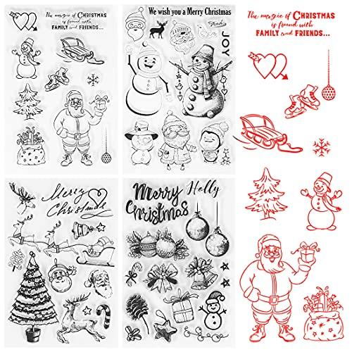 Wishstar Tampon Decoration Noel, Tampon Silicone Transparents, 4PCS Tampon Scrapbooking Clear Noël, Clear Stamp en Silicone pour DIY Noel Scrapbooking Carte Cadeau