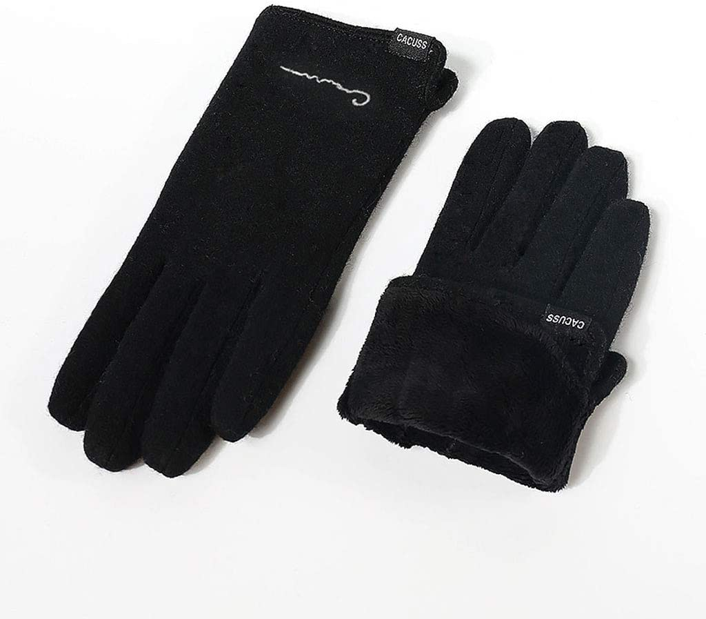 gloves Women's Touch Screen, Solid Color Double Layer Plus Velvet Warm, Wear-Resistant Windproof