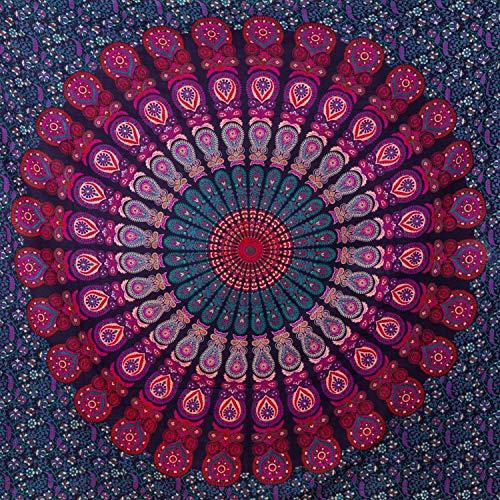 Momomus arazzo da parete grande mandala - telo mare indiano, etnico - 100% cotone - telo arredo copridivano/copritutto, pareo, multiuso - 210 x 230cm